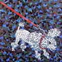 detail of mosaic, FANG the poodle on leash