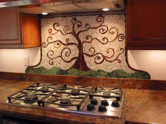 kitchen mosaic backsplash classic view of big bang