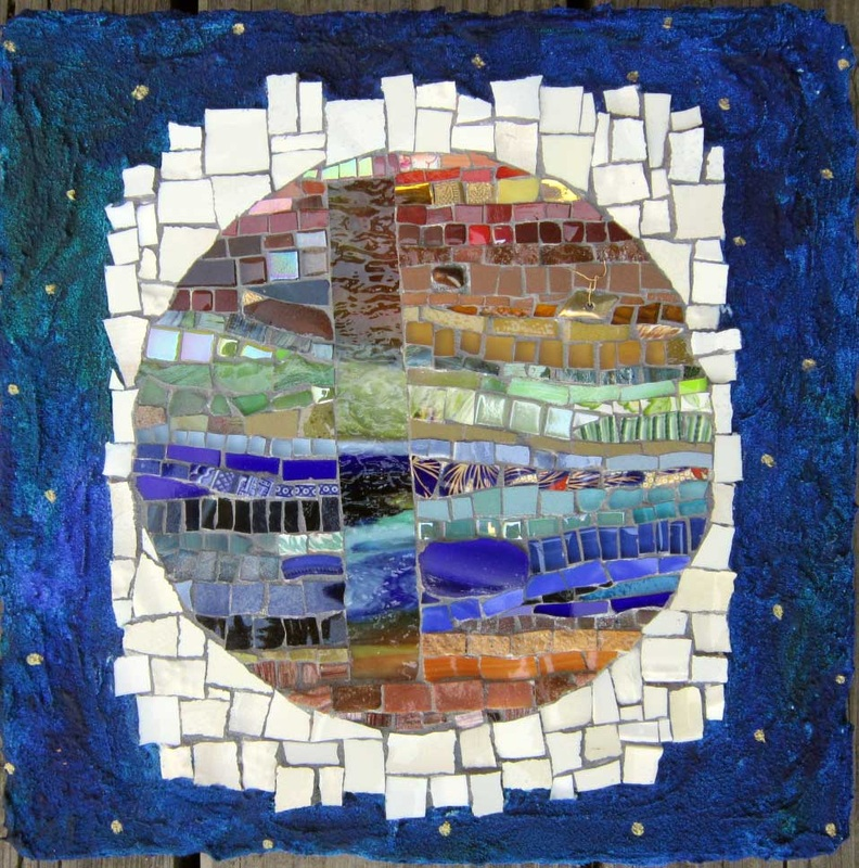 one world mosaic textural abstract