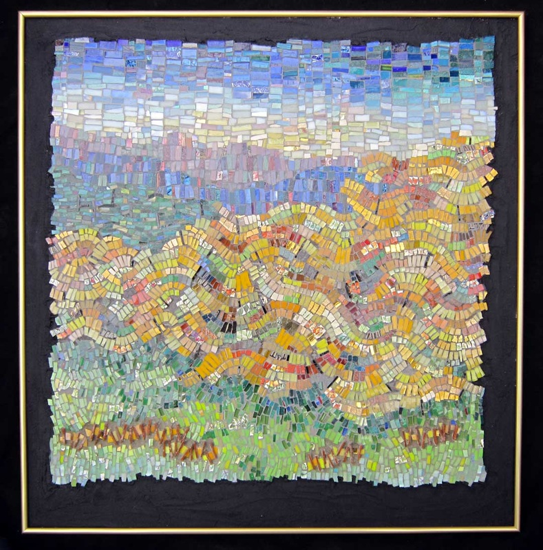 abstract art landscape mosaic fall peach orchard
