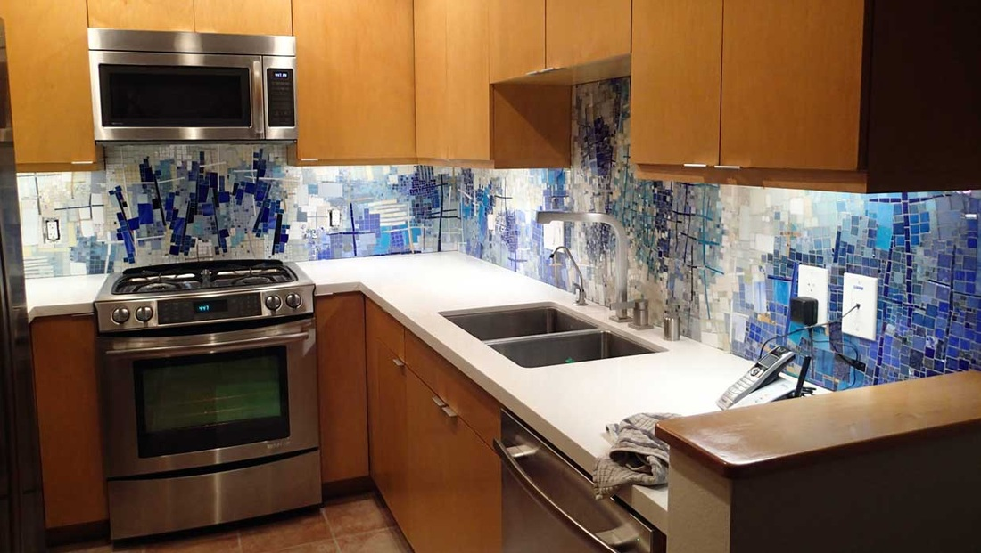 kitchen blue and white abstract art mosaic