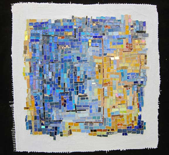 abstract mosaic blues-golds