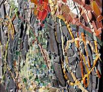 textural abstract mosaic 'my world'