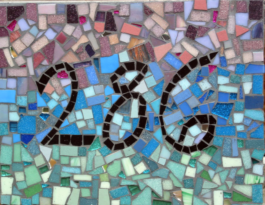donated mosaic house number sign