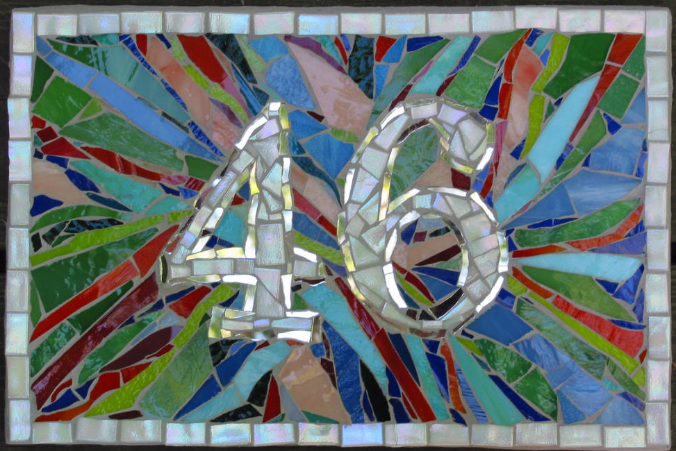 house number sign mosaic stained glass