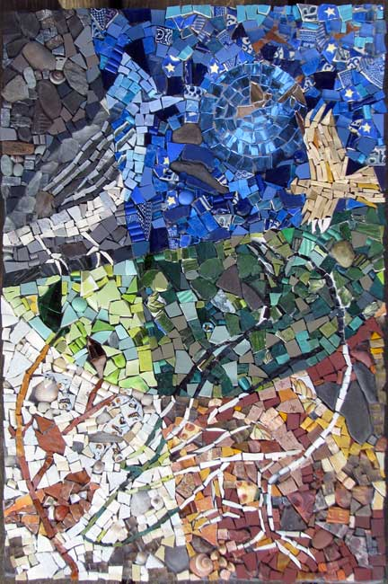 8 birds abstract  mosaic