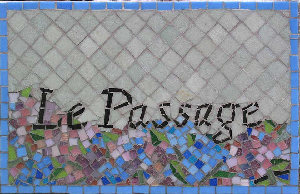 Mosaic house sign in Brittany, France