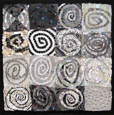 abstract art spirals, black and white mosaic