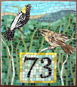 house number mosaic of birds, bobolink pair