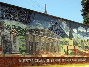 community mosaic in Xela, on walls of university