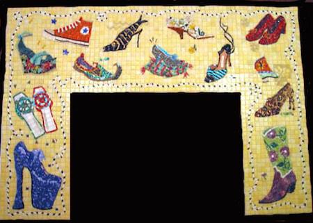 Shoe Mosaic Fireplace Surround