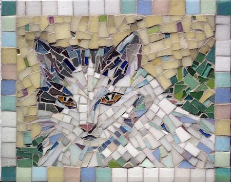 Image of: Wolf Big Bang Mosaics Mosaic Pet Portraits By Mosaic Artist Cynthia Fisher Bigbangmosaics