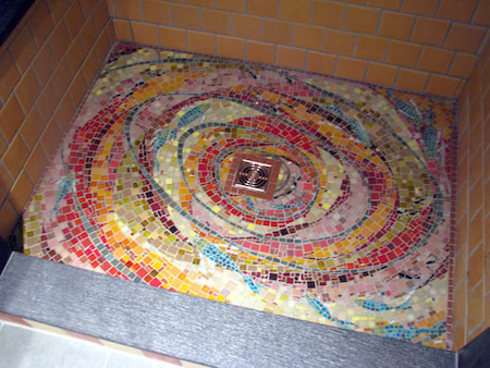 colorful shower floor mosaic