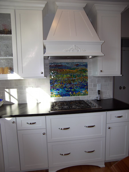 abstract landscape kitchen mosaic