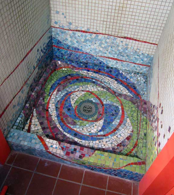 shower stall mosaic, abstract