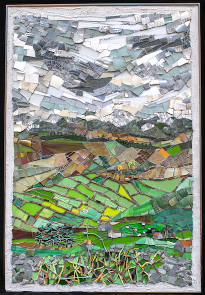 abstract landscape mosaic of Ireland